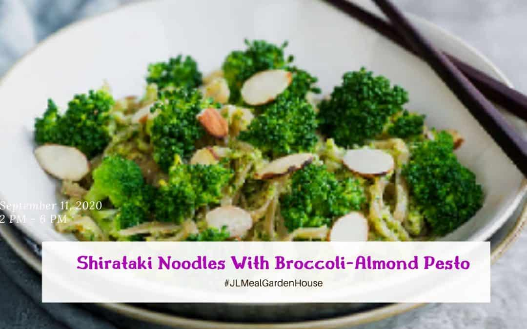 Shirataki Noodles With Broccoli-Almond Pesto